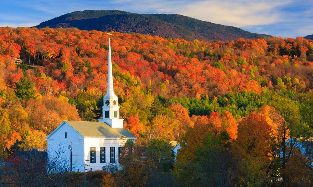 Stowe Community Church Fall, Vermont C